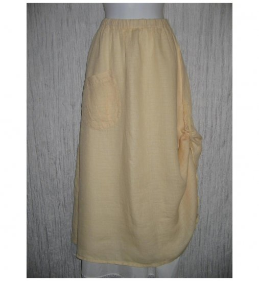 New FLAX Long & Full Yellow LINEN Ruched Skirt Jeanne Engelhart Small S
