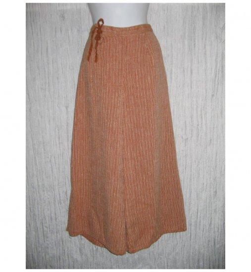 New FLAX Burnt Orange LINEN Wide Leg Tied Gauchos Pants Jeanne Engelhart Small S