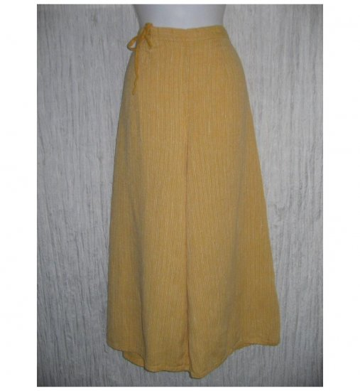 New FLAX Orange LINEN Wide Leg Tied Gauchos Pants Jeanne Engelhart Small S