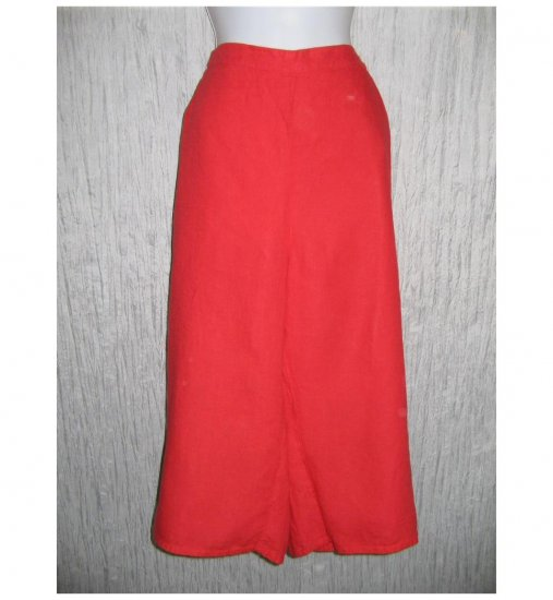 New FLAX Red LINEN Wide Leg Pants Jeanne Engelhart 1G