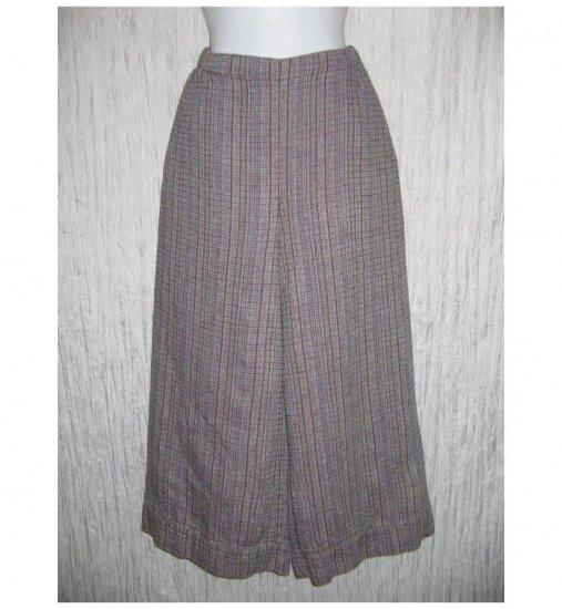New FLAX Purple Textured LINEN Wide Leg Gauchos Pants Jeanne Engelhart Small S