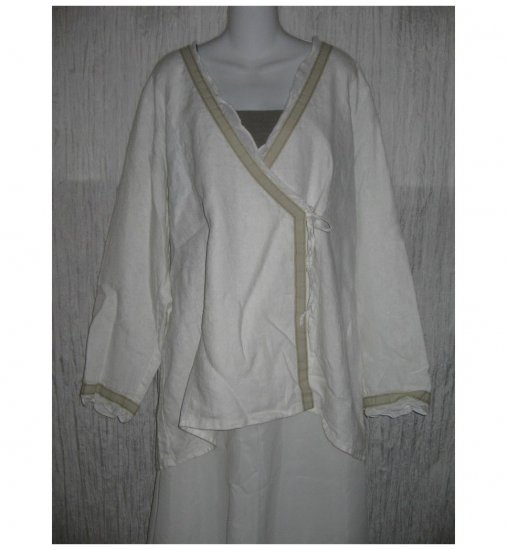 New FLAX White Textured LINEN Wrap Tunic Top Jacket Jeanne Engelhart 1G