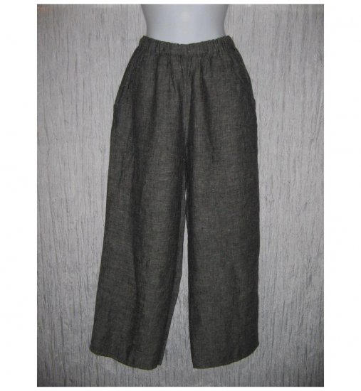 New FLAX Gray Crossweave LINEN Floods Pants Jeanne Engelhart Small S