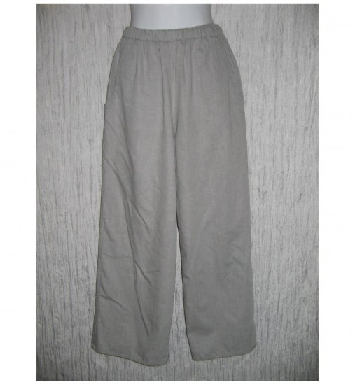 New FLAX Soft Gray Cotton Floods Pants Jeanne Engelhart Small S