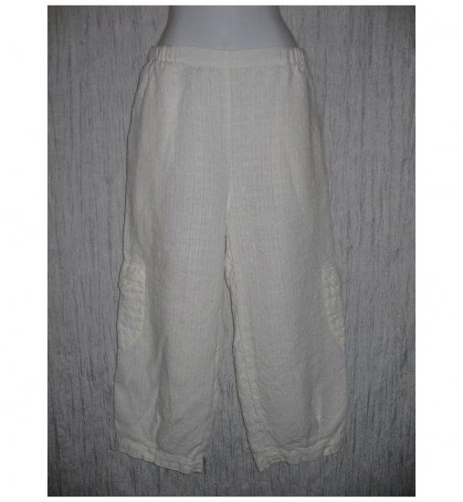 New FLAX White Cropped LINEN Cargo Pants Jeanne Engelhart Small S