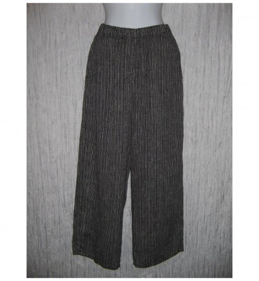 New FLAX Black Stripe LINEN Floods Pants Jeanne Engelhart Small S