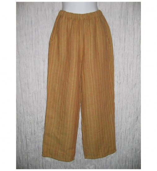 New FLAX Pumpkin Textured LINEN Floods Pants Jeanne Engelhart Small S