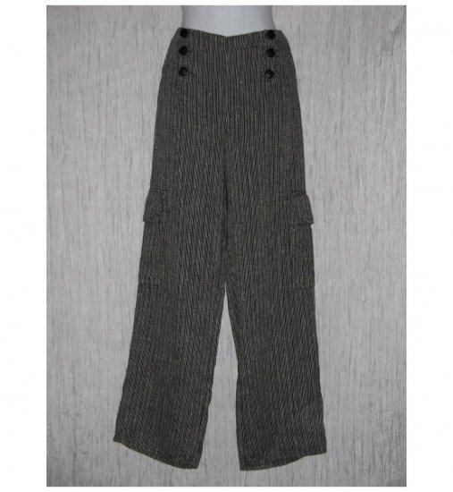 New FLAX Black Stripe LINEN Sailor Pants Jeanne Engelhart Small S