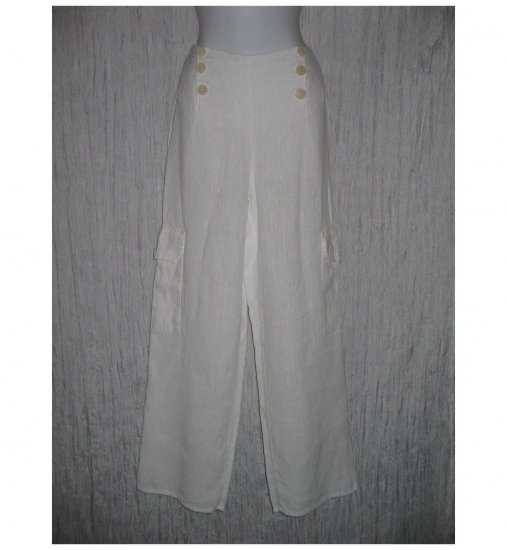 New FLAX White Textured LINEN Sailor Pants Jeanne Engelhart Small S