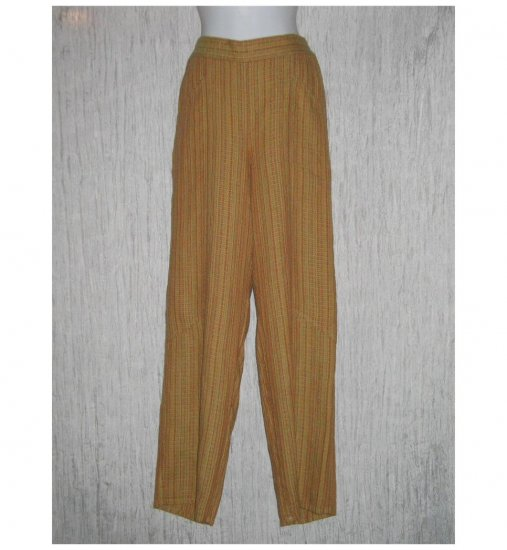 New FLAX Pumpkin Textured Long LINEN Pants Jeanne Engelhart Small S