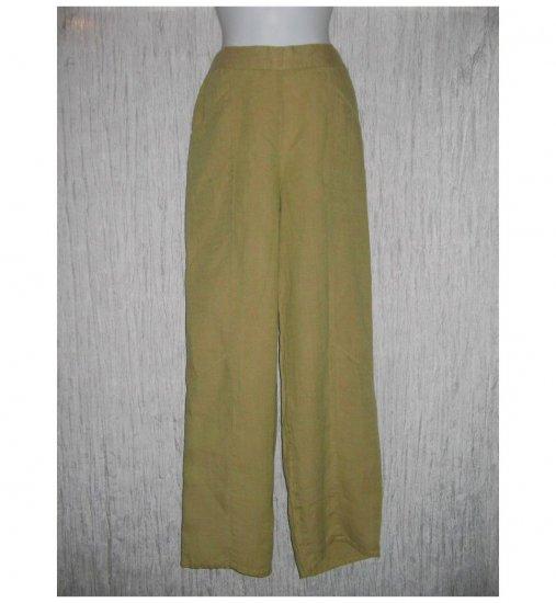 New FLAX Green Tan Crossweave LINEN Pants Jeanne Engelhart Small S