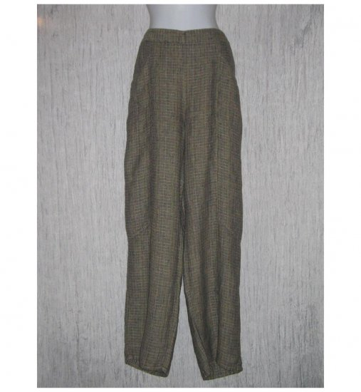 New FLAX Earthy Textured Long LINEN Pants Jeanne Engelhart Large L