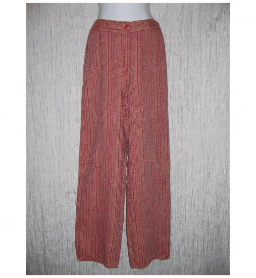 New FLAX Red Textured Long LINEN Pants Jeanne Engelhart Small S