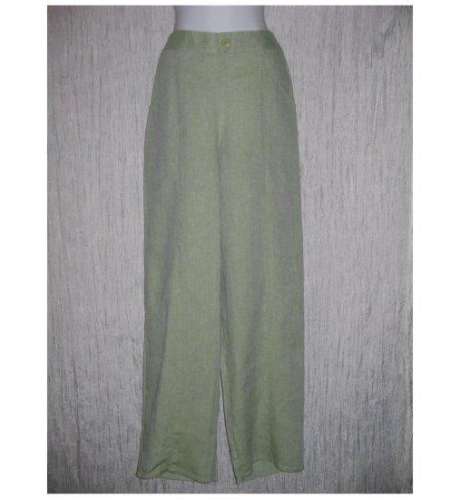 New FLAX Gray Green Long LINEN Pants Jeanne Engelhart Small S