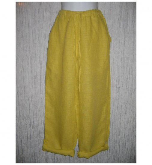New FLAX Mustard LINEN Button Tab Drawstring Pants Jeanne Engelhart Small S