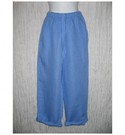 New FLAX Blue LINEN Button Tab Drawstring Pants Jeanne Engelhart Small S