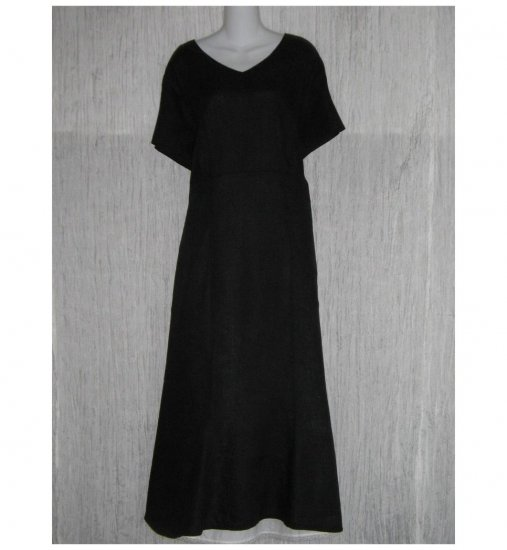 New FLAX Shapely Black Linen Dress Jeanne Engelhart 1 Generous 1G