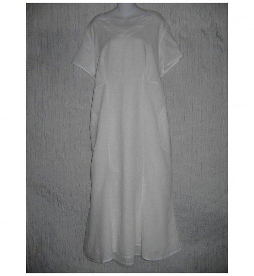 New FLAX Shapely White Linen Dress Jeanne Engelhart 1 Generous 1G