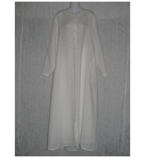 New Flax Shapely White LINEN Duster Dress Jacket Jeanne Engelhart 1 Generous 1G