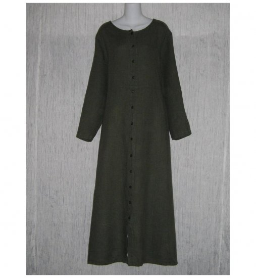 New Flax Shapely Green LINEN Duster Dress Jacket Jeanne Engelhart 1 Generous 1G
