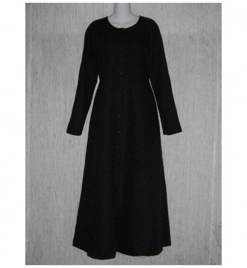New Flax Shapely Black LINEN Duster Dress Jacket Jeanne Engelhart Small S