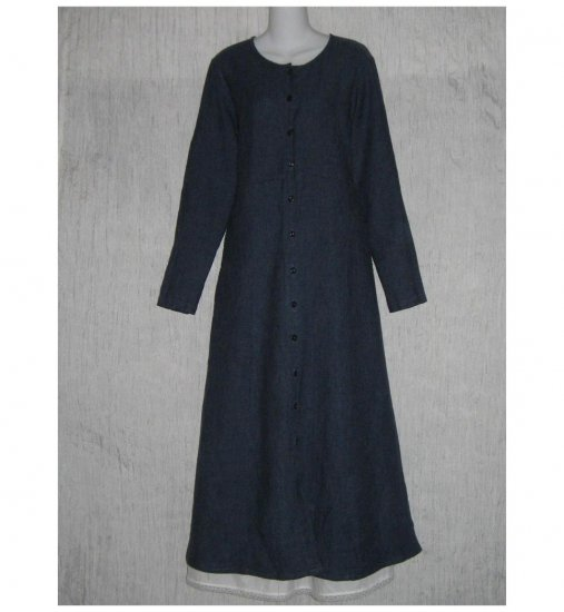 New Flax Shapely Blue LINEN Duster Dress Jacket Jeanne Engelhart Small S