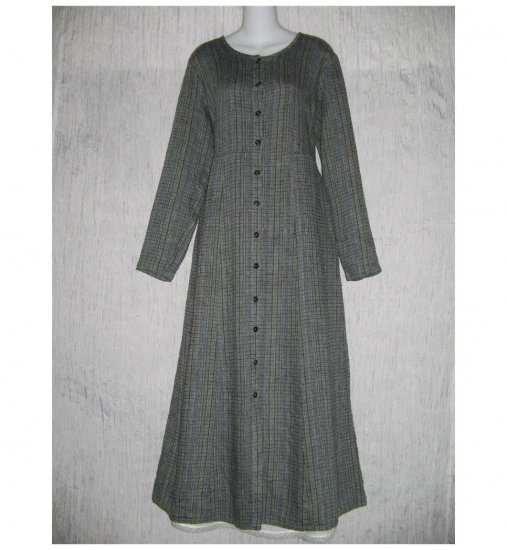 New Flax Shapely Blue Textured LINEN Duster Dress Jacket Jeanne Engelhart Small S