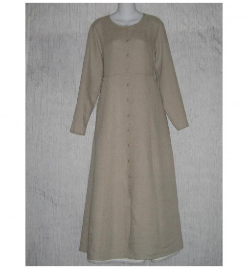 New Flax Shapely Natural LINEN Duster Dress Jacket Jeanne Engelhart Small S