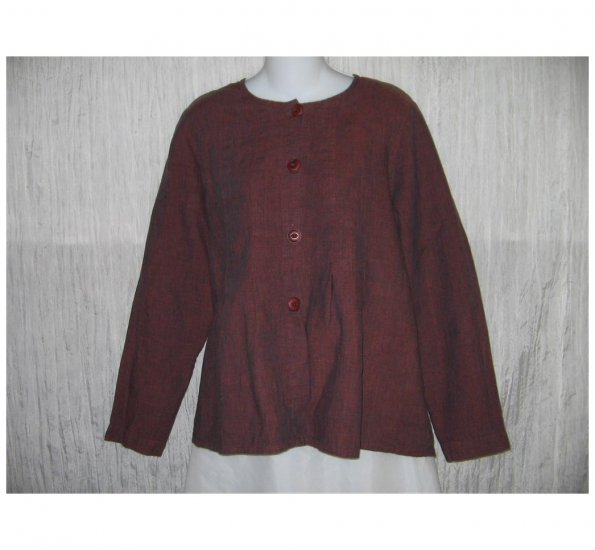 New FLAX Rich Brown LINEN Shapely Jacket Top Jeanne Engelhart Small S