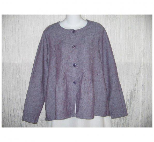 New FLAX Rich Purple LINEN Shapely Jacket Top Jeanne Engelhart Small S