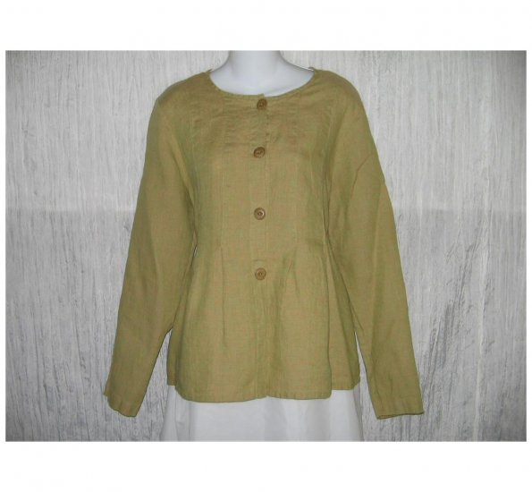 New FLAX Earthy Green LINEN Shapely Jacket Top Jeanne Engelhart Small S