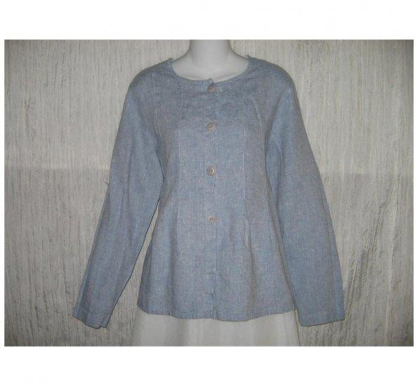 New FLAX Soft Blue LINEN Shapely Jacket Top Jeanne Engelhart Small S