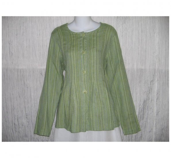 New FLAX Blue Green Textured LINEN Shapely Jacket Top Jeanne Engelhart Small S