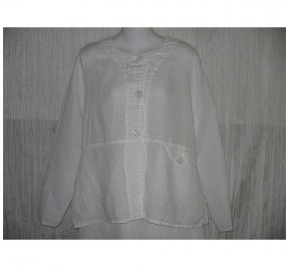 New FLAX White LINEN Shapely Jacket Top Jeanne Engelhart Small S
