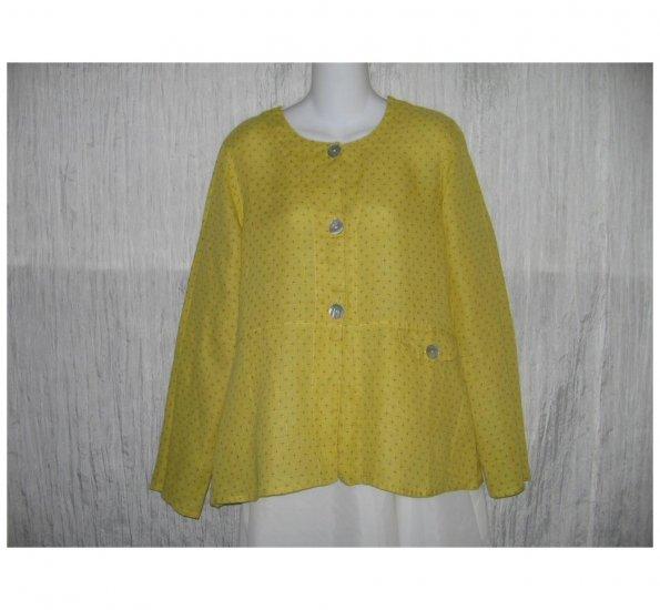 New FLAX Mustard LINEN Shapely Jacket Top Jeanne Engelhart Small S