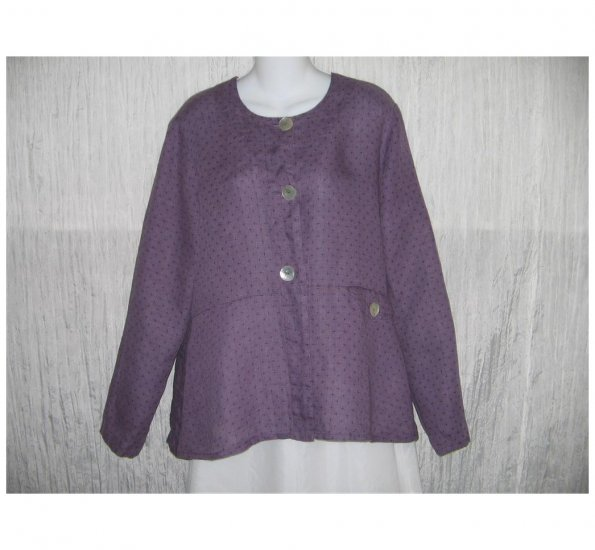 New FLAX Dotted Purple LINEN Shapely Jacket Top Jeanne Engelhart Small S
