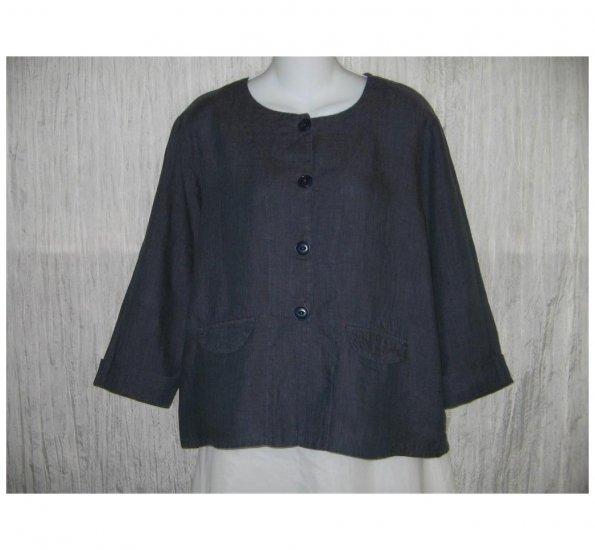 New FLAX Boxy Blue LINEN Jacket Top Jeanne Engelhart Small S