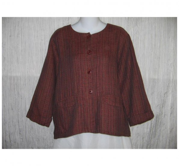 New FLAX Textured Berry LINEN Jacket Top Jeanne Engelhart Small S