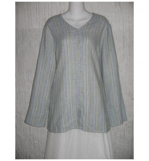 New FLAX Long Textured Blue LINEN Tunic Top Jacket Jeanne Engelhart Small S