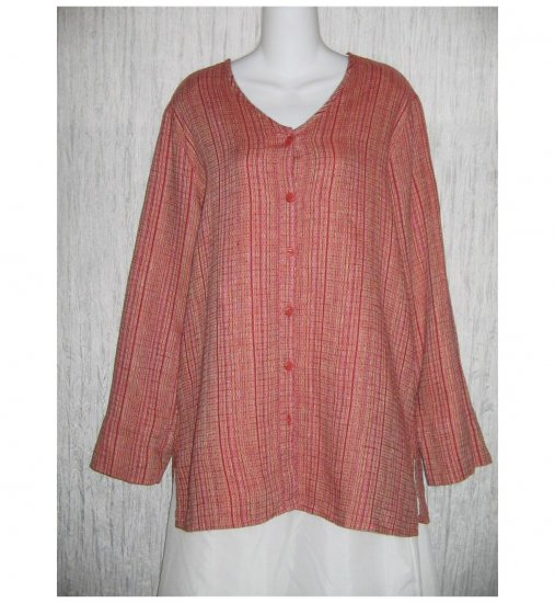New FLAX Long Textured Red LINEN Tunic Top Jacket Jeanne Engelhart Small S