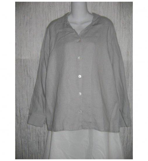 New FLAX Simple Gray LINEN Button Shirt Tunic Top Jeanne Engelhart Small S