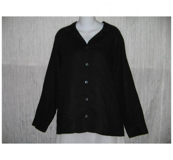 New FLAX Simple Black LINEN Button Shirt Tunic Top Jeanne Engelhart Small S