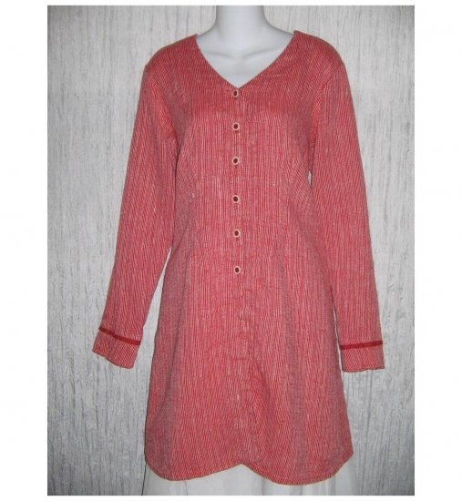 New FLAX Long Shapely Textured Red LINEN Tunic Top Jacket Jeanne Engelhart Small S
