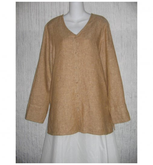 New FLAX Toffee LINEN Tunic Top Jacket Jeanne Engelhart Small S