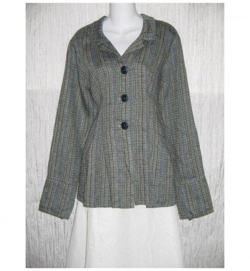 New FLAX Shapely Textured Blue LINEN Jacket Jeanne Engelhart Small S