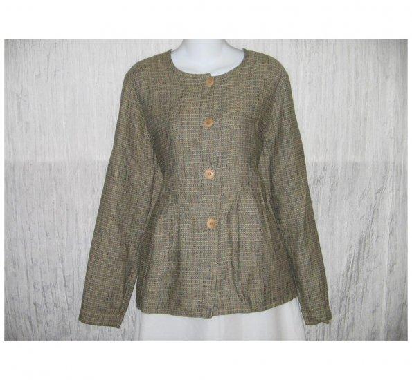 New FLAX Textured LINEN Shapely Jacket Top Jeanne Engelhart Small S