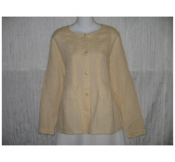 New FLAX Soft Yellow LINEN Shapely Jacket Top Jeanne Engelhart Small S