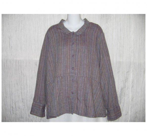 New FLAX Textured Purple LINEN Shapely Jacket Top Jeanne Engelhart Small S