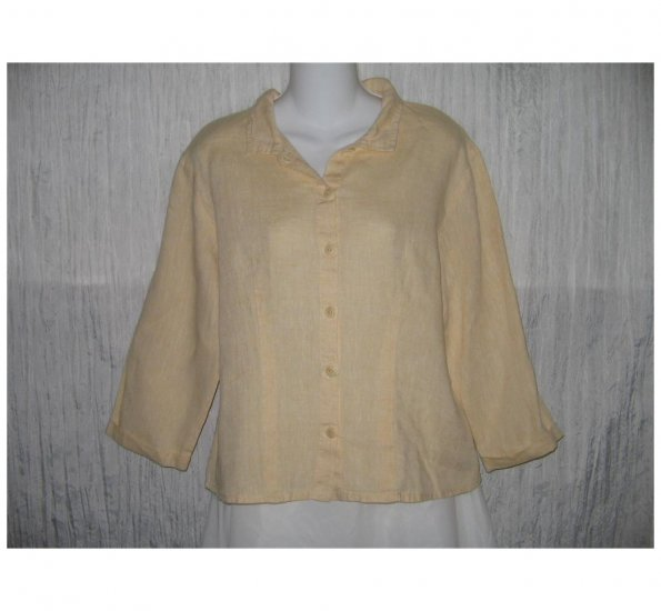 New FLAX Shapely Yellow LINEN Shirt Jeanne Engelhart Small S