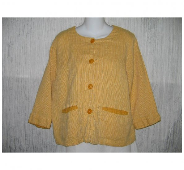 New FLAX Boxy Yellow LINEN Jacket Top Jeanne Engelhart Small S